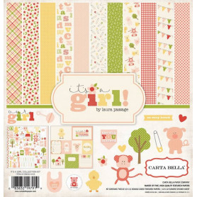 Set de papier 30x30 It's a girl 12f - Carta Bella kit