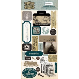 Chipboards Old World Travel 24pc - Carta Bella