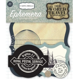 Die-cuts 33 formes découpées Old World Travel - Carta Bella