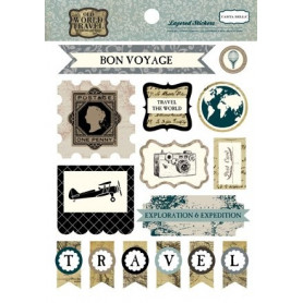 Embellissements 3D Old World Travel - Carta Bella Layered Stickers