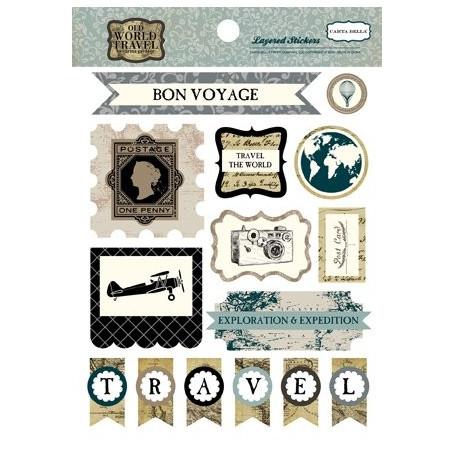 Embellissements 3D Old World Travel - Carta Bella Layered Stickers