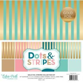 Set de papier 30x30 Dots & Stripes Gold Foil 6f - Echo Park