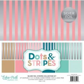 Set de papier 30x30 Dots & Stripes Silver Foil 6f - Echo Park
