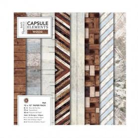 Set de papier 30x30 Elements Wood 36f - Capsule Docrafts Papermania