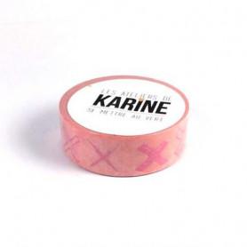 Masking Tape Croix roses 10 m - Les ateliers de Karine