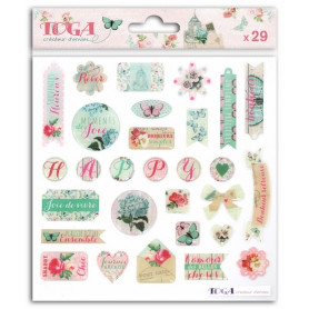 Stickers Epoxy Shabby Love 29 pc - Toga