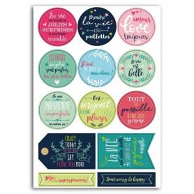 Stickers Pastilles Messages positifs 13pc - Toga