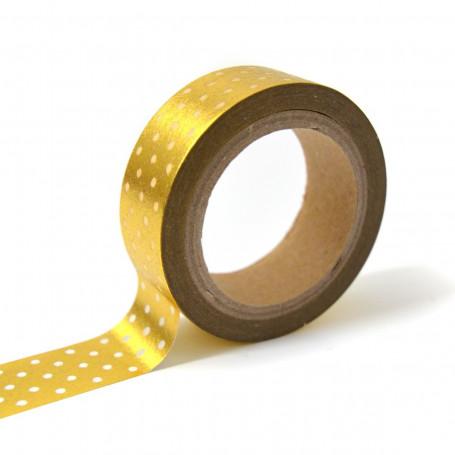 Masking Tape or à pois blanc 10 m - Toga