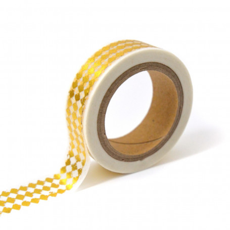 Masking Tape blanc et losanges or 10 m - Toga