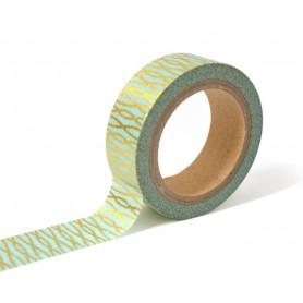 Masking Tape Bleu et fils entrelacés or 10 m - Toga