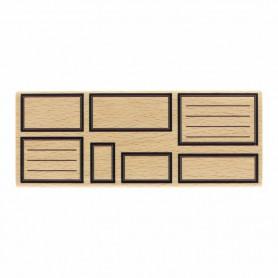 Tampon bois Sept étiquettes rectangles - Histoire naturelle - Florilèges Design
