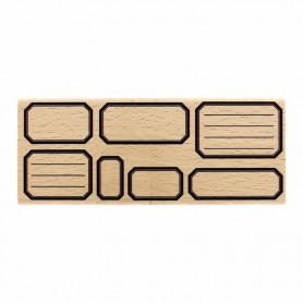 Tampon bois Sept étiquettes école - Histoire naturelle - Florilèges Design