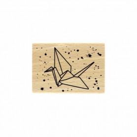 Tampon bois Grue Origami - Envolée Poétique - Florilèges Design