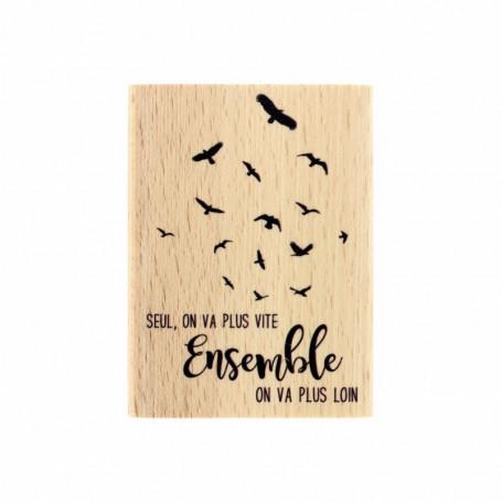 Tampon bois Plus loin - Envolée Poétique - Florilèges Design