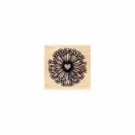 Tampon bois Fleur en coeur - La vie est belle - Florilèges Design