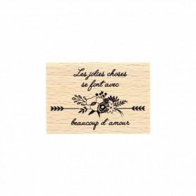 Tampon bois Avec beaucoup d'amour - La vie est belle - Florilèges Design