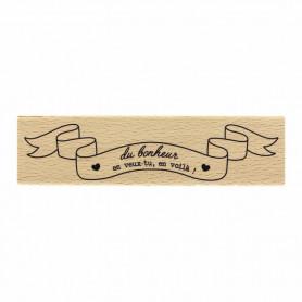 Tampon bois Bannière du bonheur - La vie est belle - Florilèges Design
