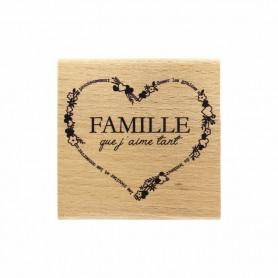 Tampon bois Famille que j'aime - La vie est belle - Florilèges Design