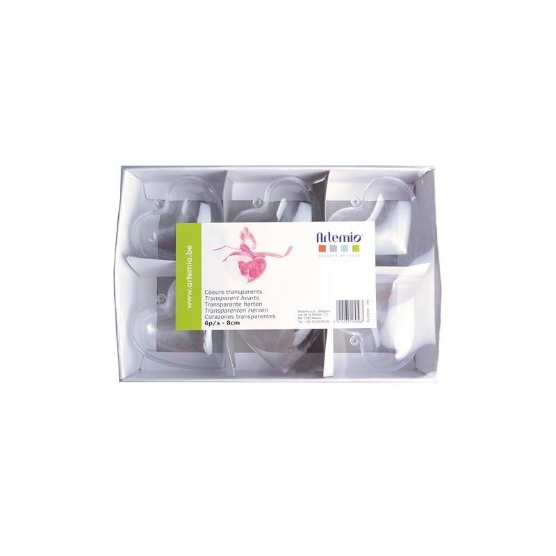 Cœurs transparents 6 pièces - 8 cm – Artemio