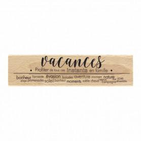 Tampon bois Vacances Bonheur - Evasion estivale - Florilèges Design