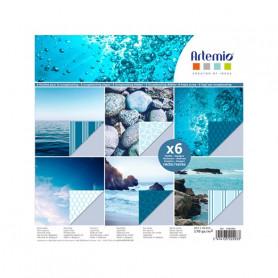 Set de papier 30x30 Photos Bleu 6f – Artemio