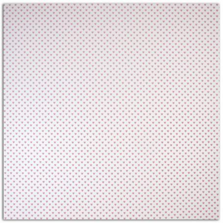 Papier 30x30 Texturé blanc coeurs rose 1f –  Mahé de Toga