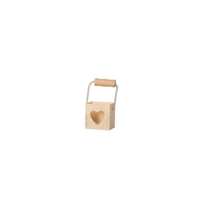 Panier en bois découpe cœur +/- 5x5 cm– Artemio