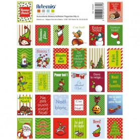 Stickers Timbres Noël Lutins - Artemio
