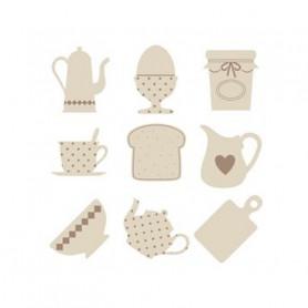 Set de mini silhouettes en bois Déjeuner - Artémio