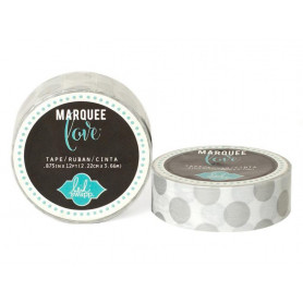 Masking Tape Blanc à pois argenté 2,2 cm - Marquee Love - Heidi Swapp
