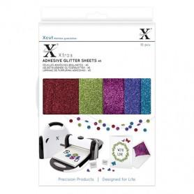 Feuilles adhésives brillantes foncées A5 (10pc) - Xcut Xtra's Adhesive Glitter Sheets Darks