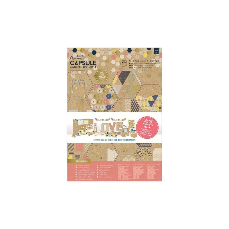 Set de papier et Die-cut A4 Geometric kraft 48f - Docrafts Papermania