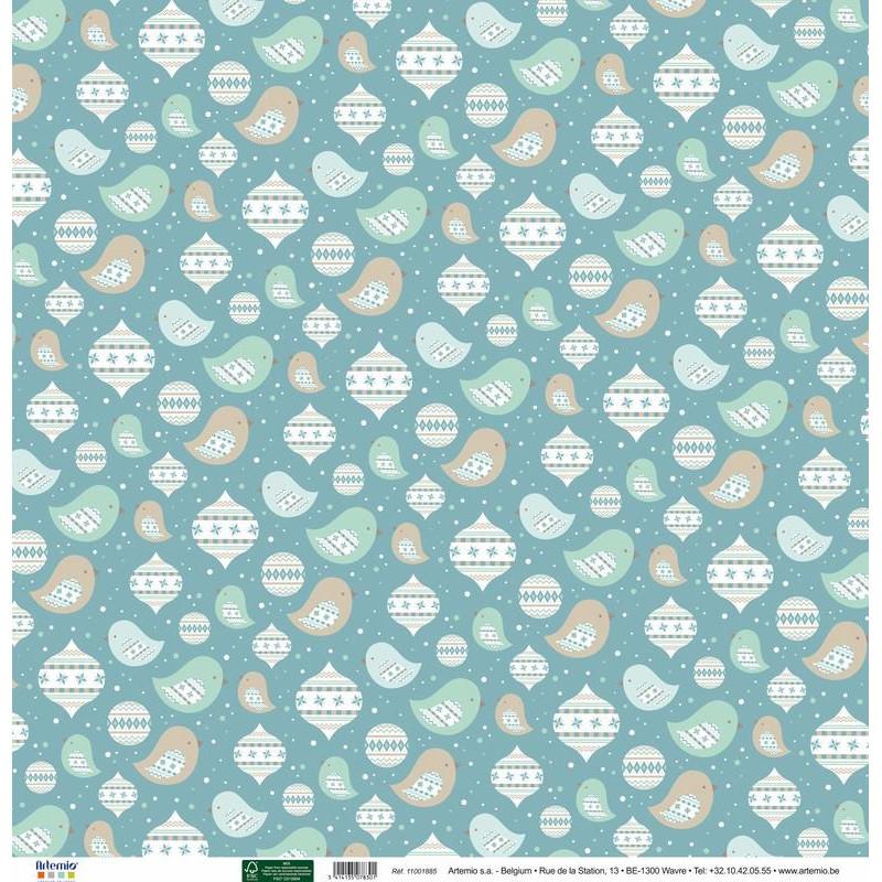 Papier 30x30 Noël Givré frises 1f – Artemio