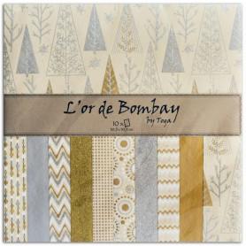 Set de papier 30x30 beige/or 10f - L'or de Bombay by Toga