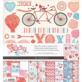 Set de papier 30x30 Lucky in Love 9f et 1f stickers - My Mind's Eye