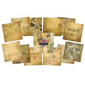 Set de papier 15x15 Fontastic Ephemera 24f - IndigoBlu