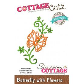 Dies Papillon et fleurs - CottageCutz - Scrapping Cottage Die Butterfly with Flowers