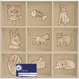 Set de mini silhouettes en bois Cats & dogs - Aurelie