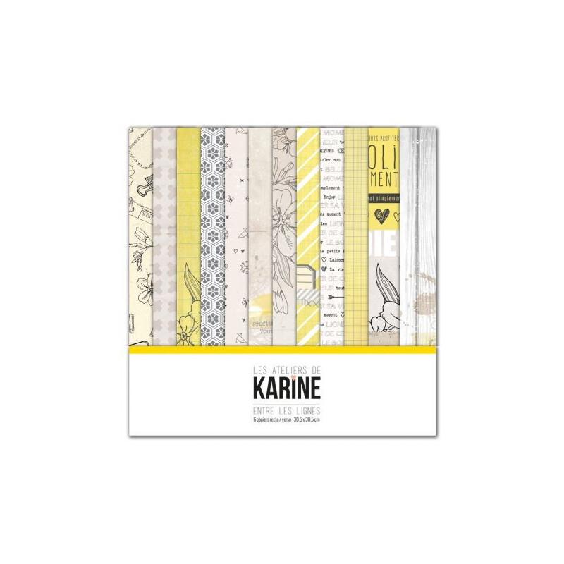 Set de papier 30x30 Entre les lignes 6f - Les ateliers de Karine