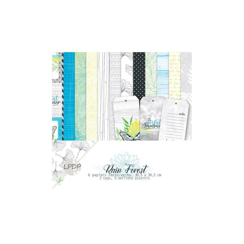 Set de papier 30x30 Rain Forest 6f - Les papiers de Pandore