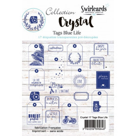 Set de 17 Tags Blue Life Crystal– Swirlcards