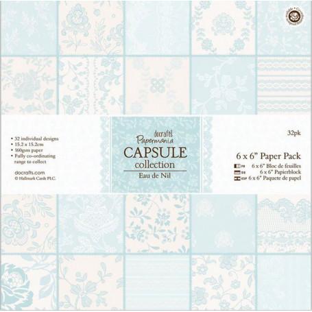 Set de papier 15x15 Eau de Nil (32f) – Capsule Docrafts Papermania