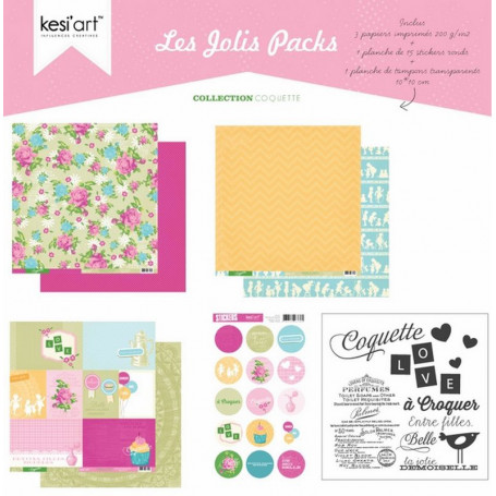 Joli pack Coquette – kit de scrapbooking – Kesi'art