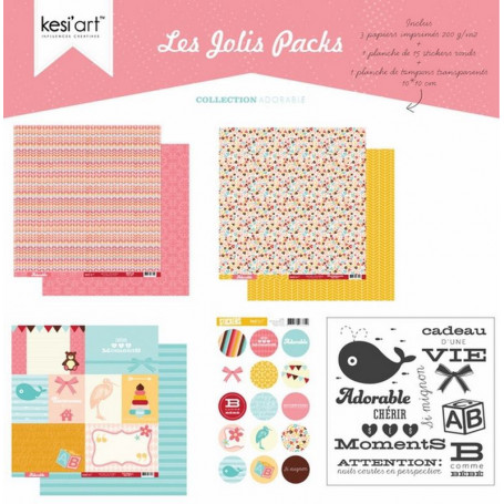 Joli pack Adorable – kit de scrapbooking – Kesi'art