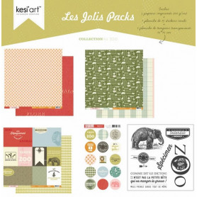 Joli pack Au Zoo – kit de scrapbooking – Kesi'art