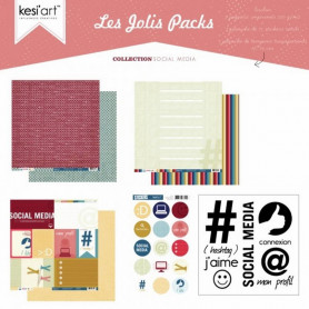 Joli pack Social Media – kit de scrapbooking – Kesi'art