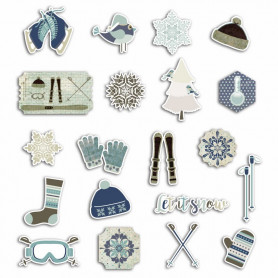 Chipboards en carton 20pc Let It Snow - Toga