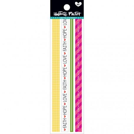 Washi Stickers-Colorful 50 pc - illustrated Faith