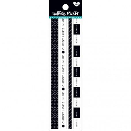 Washi Stickers-black & White 50 pc - illustrated Faith