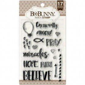 Tampons Amen 10x15 cm 17 pc - Bo Bunny Clear Stamps